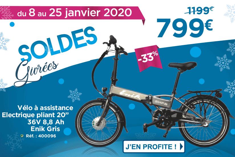 Vélo électrique en Soldes à 799€ du 8 au 25 janvier 2020 chez Narbonne Accessoires