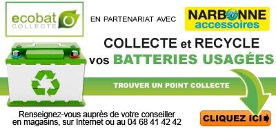 Narbonne Accessoires collecte gratuitement vos batteries usagées !